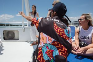 Dream crew staff educating passengers on Dreamtime Dive and Snorkel boat
